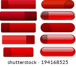 set of blank red buttons for... | Shutterstock .eps vector #194168525