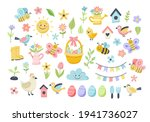 easter spring set with cute...   Shutterstock . vector #1941736027