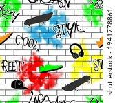 seamless pattern graffiti urban ... | Shutterstock .eps vector #1941778861