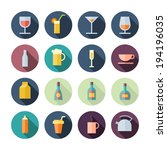 flat design icons for drinks....