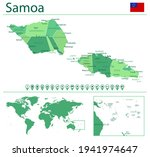 detailed map of samoa with... | Shutterstock .eps vector #1941974647