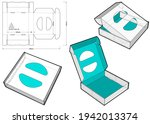cake box and die cut pattern. ... | Shutterstock .eps vector #1942013374