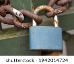 Close Up Of Blue Padlock With...