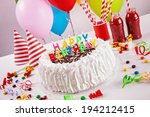 birthday cake on colorful... | Shutterstock . vector #194212415