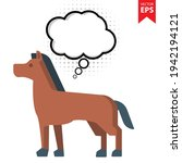 cute cartoon horse with thought ...