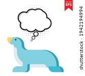 cute cartoon sea lion with...