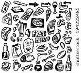 fast food  doodles set | Shutterstock .eps vector #194223485