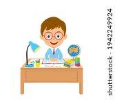 cute cartoon boy study at the...   Shutterstock .eps vector #1942249924