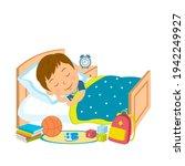 cute cartoon boy sleep in bed...   Shutterstock .eps vector #1942249927