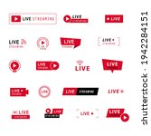 live streaming icons set. red... | Shutterstock .eps vector #1942284151