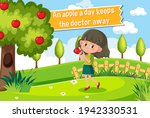 idiom poster with an apple a... | Shutterstock .eps vector #1942330531