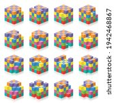 cube with missing cubes from 1...   Shutterstock .eps vector #1942468867