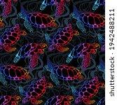 sea turtle in psychedelic... | Shutterstock .eps vector #1942488211