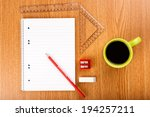 workspace table shot from above ...   Shutterstock . vector #194257211