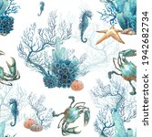 Watercolor Coral Reef Seamless...