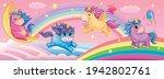 set funny small unicorns. cute... | Shutterstock .eps vector #1942802761