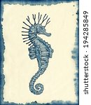 hand drawn seahorse on ink... | Shutterstock . vector #194285849