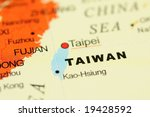 close up of taiwan on map | Shutterstock . vector #19428592