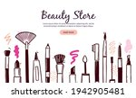 hand drawn template with makeup ... | Shutterstock .eps vector #1942905481