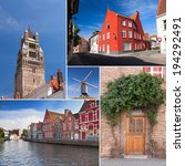 River channel and buildings in Bruges, windmill and tower collage, Belgium  - stock photo