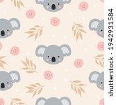 seamless pattern of koala heads ... | Shutterstock .eps vector #1942931584