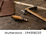 leather crafting tools on... | Shutterstock . vector #194308235