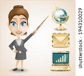 businesswoman  gold envelope  ...   Shutterstock .eps vector #194310029