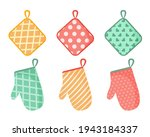 Vector illustration of oven mitt. A set of colored kitchen accessories with patterns. Isolated on white background.