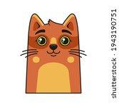 cute cat face icon. cartoon... | Shutterstock .eps vector #1943190751