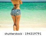 young beautiful woman in denim... | Shutterstock . vector #194319791