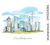 modern urban sketch city... | Shutterstock .eps vector #194324381