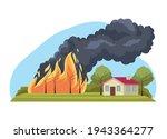 house in forest fire scene   Shutterstock .eps vector #1943364277