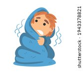 little fearful boy covered with ... | Shutterstock .eps vector #1943378821