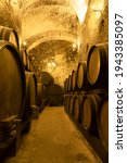 Ancient Wine Cellar With Rows...