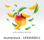 vector of ripe mango with... | Shutterstock .eps vector #1943450011