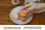 Raw Egg Yolk Separated Inside...