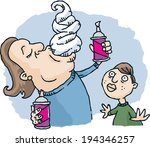 a cartoon man eating whipped... | Shutterstock .eps vector #194346257
