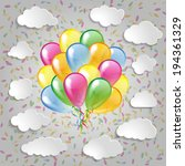 multicolored balloons with... | Shutterstock .eps vector #194361329