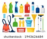 cleaning services. set with... | Shutterstock .eps vector #1943626684