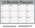 monthly planners a4 size  set... | Shutterstock .eps vector #1943650747