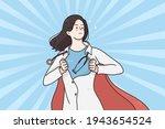 superhero woman doctor in... | Shutterstock .eps vector #1943654524