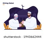 people giving zakat to old man... | Shutterstock .eps vector #1943662444
