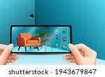 hand holding mobile phone with... | Shutterstock .eps vector #1943679847