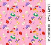 seamless easter pattern vector... | Shutterstock .eps vector #1943712997