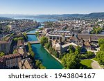 Aerial View Of The Limmat River ...