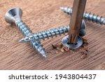 Screwdriver screw in a wood...