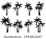 black palm trees set isolated... | Shutterstock .eps vector #1943812657