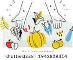 peasant's hand full of harvest... | Shutterstock .eps vector #1943828314