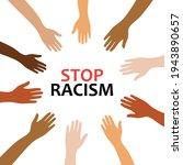 stop racism banner design.black ... | Shutterstock .eps vector #1943890657