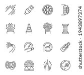fibre cable thin line icons set ...   Shutterstock .eps vector #1943897374